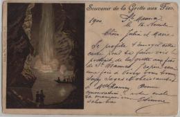Souvenir De La Grotte Aux Fees - Cachet: St. Maurice - Litho Carl Künzli No. 273 - VS Valais