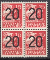 DÄNEMARK  256 4erBlock, Postfrisch **, Karavelle, 1940