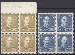 DÄNEMARK  292-293, 4erBlock, Postfrisch **, Christian X., 1946