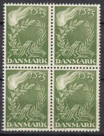 DÄNEMARK  295, 4erBlock, Postfrisch **, Freiheitskampf., 1947