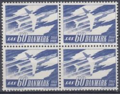 DÄNEMARK  388,x 4erBlock, Postfrisch **, 10 Jahre SAS 1961