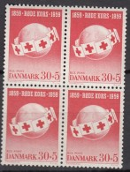 DÄNEMARK  375, 4erBlock, Postfrisch **, Rotes Kreuz 1959