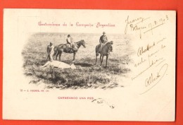 IAD-18  Costumbres De La Campana Argentina : Carneando Una Res. ANIME. USED In 1903 For France - Argentina