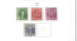 Usa Stamps 1940 Valori Nuovi Artisti Scott.884/887+See Scan No CPL - Usati