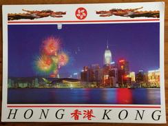 The Hong Kong Convention & Exhibition Centre At Night, Dragon, Fireworks - China (Hongkong)