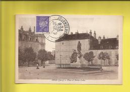 Journée Du TIMBRE 1942  De DÔLE DU JURA DOUBS  Timbre N° 509  Type PÉTAIN   Du 19 04 1942 Sur Carte Postale Jules GRÉVY - Marcophilie (Lettres)