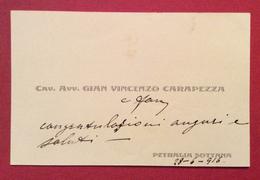BIGLIETTO DA VISITA AVV. GIAN VINCENZO CARAPEZZA PETRALIA SOTTANA  28/6/1916 - Cartoncini Da Visita