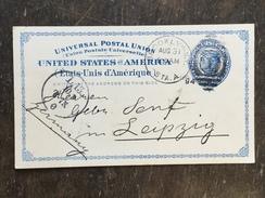 B14 United States Etats-Unis USA Stationery Entier Postal Ganzsache Psc From Brooklyn To Leipzig