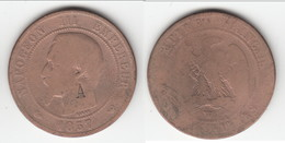 "SURFRAPPE ""A"" **** 10 CENTIMES 1857 W LILLE - NAPOLEON III TETE NUE **** EN ACHAT IMMEDIAT - France"