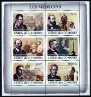 Comores, 2009, Medicine, Koch, Von Behring, Pasteur, Fleming, Dunant, Banting, Davy, MNH, Michel 1981-1986