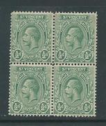 St Vincent 1913 KGV 1/2d Green MNH Block Of 4 - St.Vincent (...-1979)
