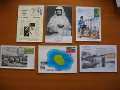 Réunion : Cinq CP Des Années 80 Avec Cachets Commémoratifs Divers De La Réunion.