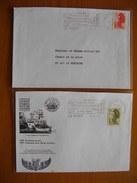 Réunion : Deux  Lettres Avec Oblitérations Mécaniques Du Port Dont Une Des Flammes Avec Variété Sans Le Jour.