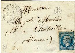 1866- Lettre De CHAUMONT-S-AIRE ( Meuse) Cad T22 Affr. N°22 Oblit. G C 981 + B Boite Rurale Non Identifiée - Marcophilie (Lettres)
