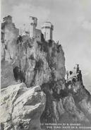 SAN MARINO - DUE TORRI - EDIZ SAVORETTI - VIAGGIATA 1952 - FRANCOBOLLO ASPORTATO - San Marino