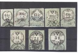 NEU694 LOT STEMPELMARKEN FISKALMARKEN ÖSTERREICH 1854 CM 6-10-15-30-45  KREUZER  Und 1+2+3  GULDEN ENTWERTET - Steuermarken