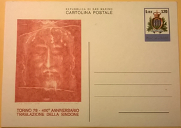 CARTOLINA NUOVA SAN MARINO TORINO 1978 400 ANNI TRASLAZIONE SACRA SINDONE - San Marino