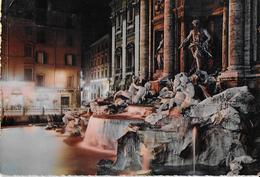 LAZIO - ROMA - NOTTURNO FONTANA DI TREVI - COLORATA -VIAGGIATA 1963 - Fontana Di Trevi