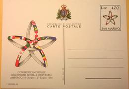 CARTOLINA NUOVA SAN MARINO CONGRESSO MONDIALE UNIONE POSTALE 27 LUGLIO 1984 AMBURGO - San Marino