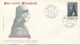 ITALIA - FDC SERIE DEL SOLE 1963 - PICO DELLA MIRANDOLA - FDC