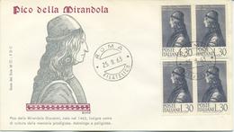 ITALIA - FDC SERIE DEL SOLE 1963 - PICO DELLA MIRANDOLA - QUARTINA - FDC
