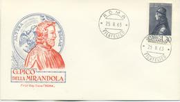 ITALIA - FDC ROMA 1963 - PICO DELLA MIRANDOLA - FDC