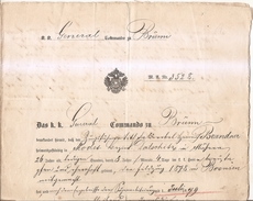 Document Militaria Avec Fiscaux-1872-1880-autriche - Fiscali