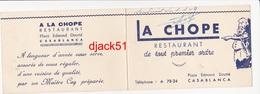 Petit Calendrier 1949 - LA CHOPE Restaurant CASABLANCA (MAROC) - Calendriers
