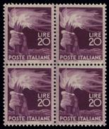 ITALIA REPUBBLICA 1945 20 Lire Democratica Quartina Nuova Integra - 6. 1946-.. Republik