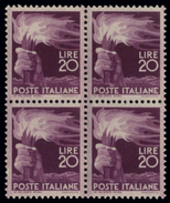 ITALIA REPUBBLICA 1945 20 Lire Democratica Quartina Nuova Integra - 1946-.. Republiek