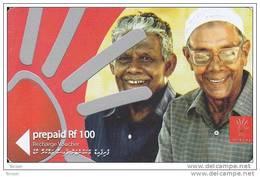 Maldives,  Pre-Paid Rf 100, 2 Men, 2 Scans - Maldives