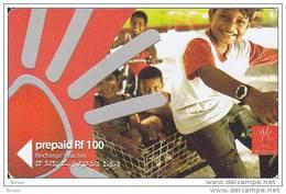 Maldives,  Pre-Paid Rf 100, Children On Bike, 2 Scans - Maldives