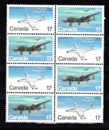 Canada 1980 Mi Nr  784 + 785 Airplane : Avro Canada CF-100 + Avro-Lancaster Blok Van 8, Niet Gestempeld