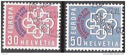 Schweiz Suisse 1959: Zu 349-350 Mi 681-2 Yv 632-3 Mit O CONFÉRENCE EUROPÉENNE DES PTT Montreux  (Zu CHF 10.00) - Poste