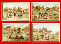 Au Bon Marché, Lot De 4 Chromos Lith. J. Minot MI-24, Enfants, Jeux, Cerf Volant, Barque, Petit Bateau - Au Bon Marché