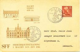 Sweden Card Special Postmark Sveriges Filatelistforening 60th Anniversary Malmö 14-9-1946 Single Franked - Suède