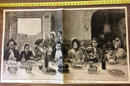 ANCIENNE GRAVURE DE 125 ANS UNE TABLE D HOTE AU SIECLE DERNIER D ALONZO PEREZ - Oude Documenten