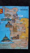 CPSM DEPARTEMENT DE LA MANCHE 50   CONTOUR GEOGRAPHIQUE ED ARTAUD ABBAYES NORMANDES 2 EME CHOIX PLIS - Maps