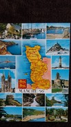 CPSM DEPARTEMENT DE LA MANCHE 50   CONTOUR GEOGRAPHIQUE ED ARTAUD BLASON - Maps