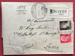 S.SEVERO Lineare + SANSEVERO FOGGIA SU RACCOMANDATA TARIFFA 85 C. PER ZAVIA IN DATA  21/10/39 - 1900-44 Vittorio Emanuele III