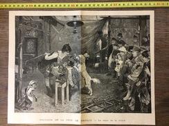 ANCIENNE GRAVURE 1894 SOUVENIR DE LA FETE DE NEUILLY LE REPAS DE LA TROUPE - Oude Documenten