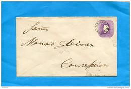MARCOPHILIE -CHILI-lettre Entier Postal-5 Cent Colon Cad SAN CARLOS  1898>Concepcion - Chile