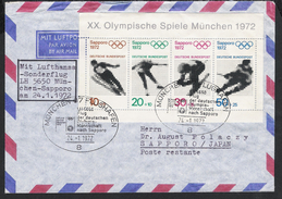 BRD 1971 Mi# 684-87 Cover Sport Olympische Spiele Olympics Sapporo 1972 München Sonderstempel Sonderflug Olympic Village