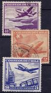 CHIL I-  1951 YT Nr.PA 141, 144, En 145 - Mi Nr. 480, 483 En 484 - USED - ° - Chili