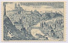 Czechoslovakia / Stamps (1955) L0041 (Air Mail Stamp): City Prague (castle, City, Church, Bridge); Painter: J. Schmidt
