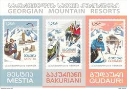 Georgia 2016 Georgian Mountain Resorts Skiing Train SS Of 3v MNH - Trains