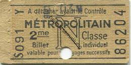 Frankreich - Metropolitain - N - 2me Classe - Billet Fahrkarte - Europa