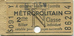 Frankreich - Metropolitain - N - 2me Classe - Billet Fahrkarte - Treni