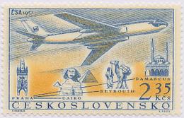 Czechoslovakia / Stamps (1957) L0043 (Air Mail Stamp): CSA 1957 (TU 104, Cairo, Beyrouth, Damascus); Painter: F. Hudecek
