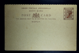 Hong Kong: Reply Card 4 Cents Surcharged On 3 Cents Not Used - Hong Kong (...-1997)